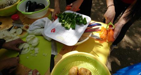 バーベキュー野菜準備